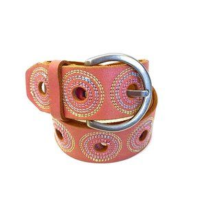 Fossil Pink Leather Belt with Circle Detail